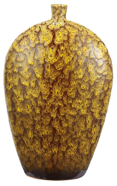 Ceramic Vase With Dripping Glazed Texture, Yellow and Brown By Casagear Home