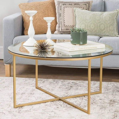 "36"" Coffee Table with X-Base - Clearand Gold"