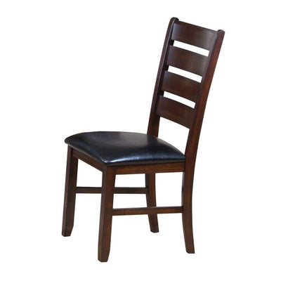 Leather Upholstered Wooden Side Chairs With Ladder Back, Brown & Black, (Set of 2)