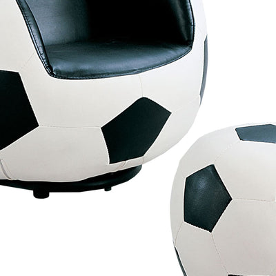 All Star 2 Piece Pack Chair & Ottoman Soccer: White & Black AMF-05525