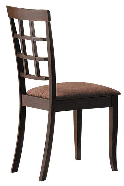 Wood & Fabric Side Chairs With Open Grid Pattern Back, Espresso Brown, Set Of 2