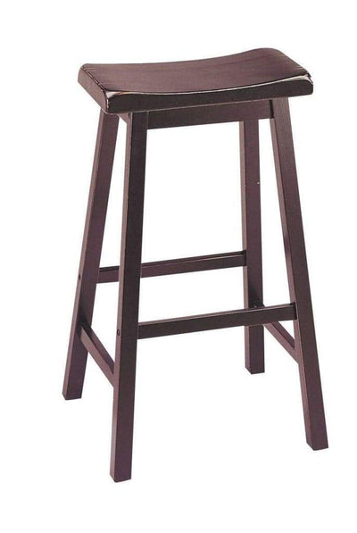 Wooden Bar Height Stools With Saddle Seat,  Walnut Brown (Set of 2)