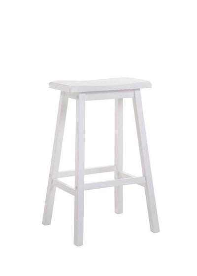 Wooden Bar Height Stools With Saddle Seat, White (Set of 2)