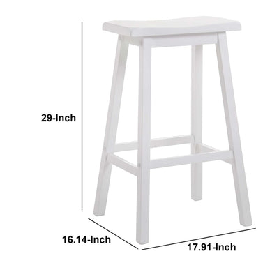 Wooden Bar Height Stools With Saddle Seat White (Set of 2) AMF-07311