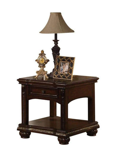 Wooden End Table with Lower Shelf , Cherry Brown