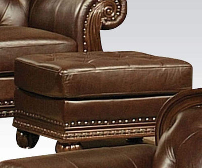 Faux Leather Upholstered Ottoman with Nail head Trim Detail, Espresso Brown - ACME