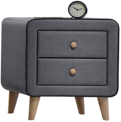 Transitional Style Wood and Fabric Upholstery Nightstand with 2 Drawers Gray AMF-24523