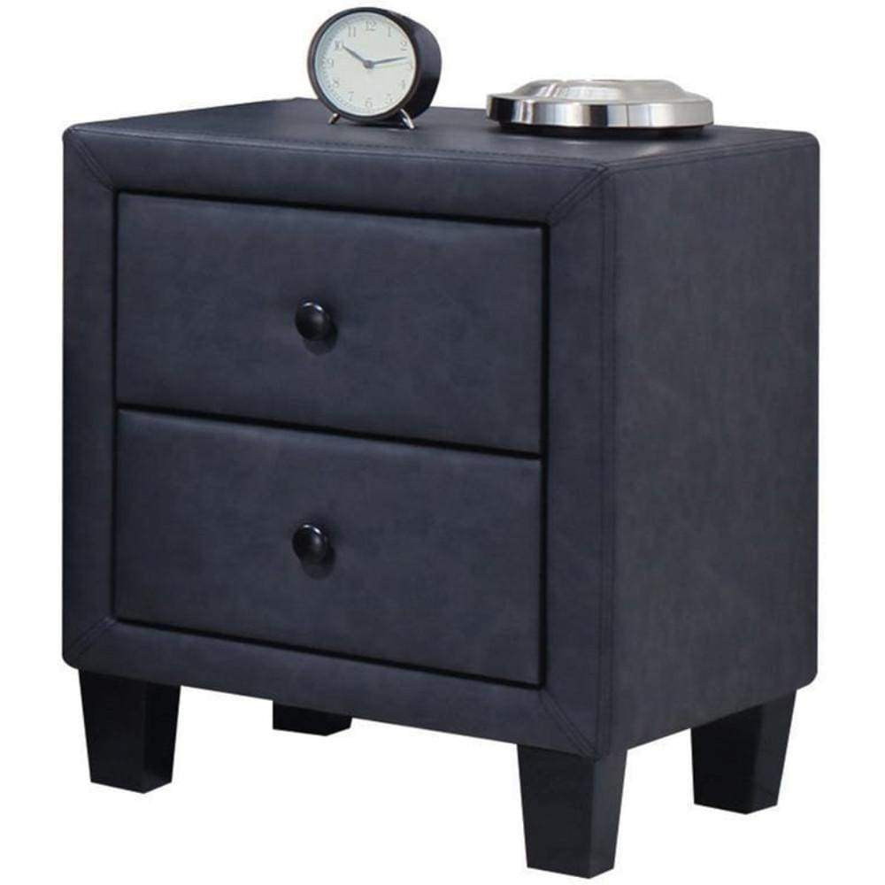 Polyurethane Upholstered Two Drawer Nightstand With Wooden Tapered Leg, Gray - ACME