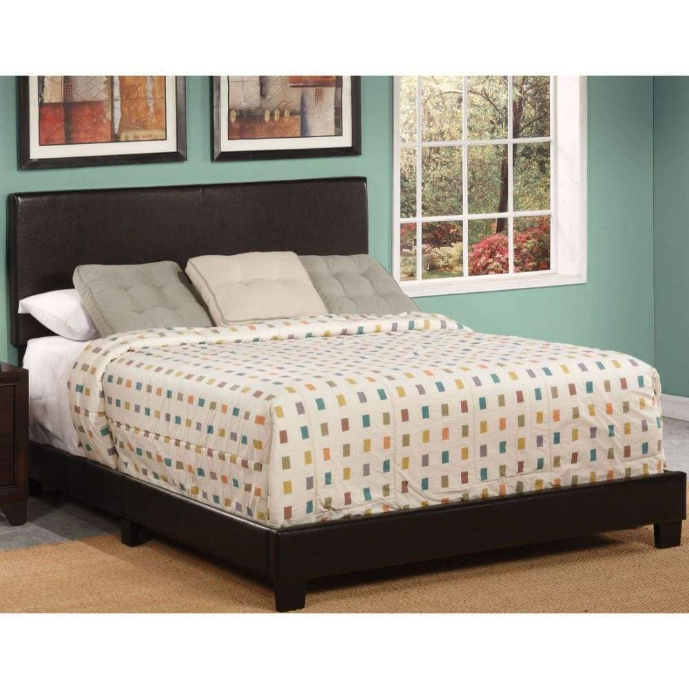 Polyurethane Upholstered Queen Bed With Low Profile Footboard & Block Leg, Brown - ACME