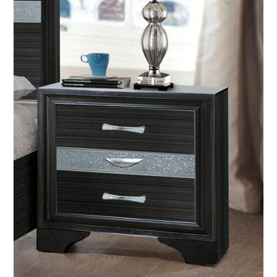 Two Tone Wooden Nightstand With Three Drawers, Black And Silver