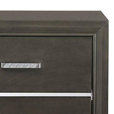 Wooden Two Drawer Nightstand With Bracket Legs Gray AMF-26263