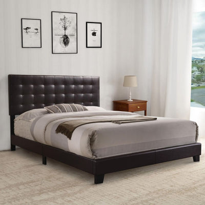 Sophistiated Transitional Style Queen Size Padded Bed Brown AMF-26350Q