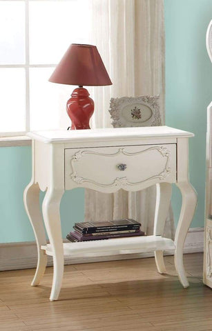 Beautiful Wood Nightstand By Edalene, Pearl White