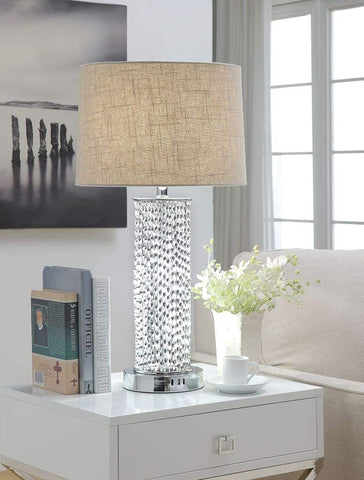 Contemporary Metal Table Lamp with Two LED Glass Cylinders, Silver - 40162