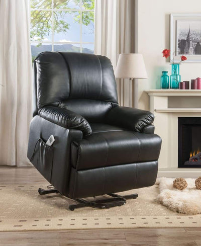 Contemporary Polyurethane Upholstered Metal Recliner with Power Lift, Black