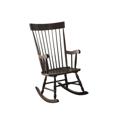 Traditional Style Wooden Rocking Chair with Contoured Seat, Black