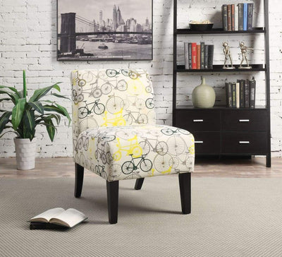 Bicycle Pattern Fabric Accent Chair with Wooden Legs, Multicolor