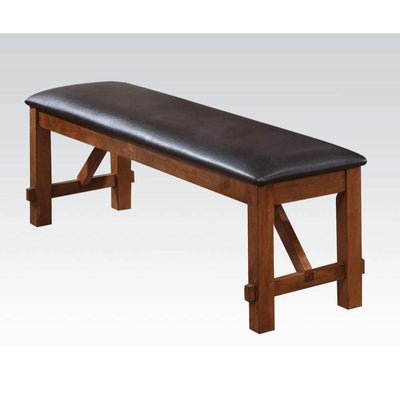 Transitional Style Wood and Fabric Upholstery Bench with Padded Seat, Brown