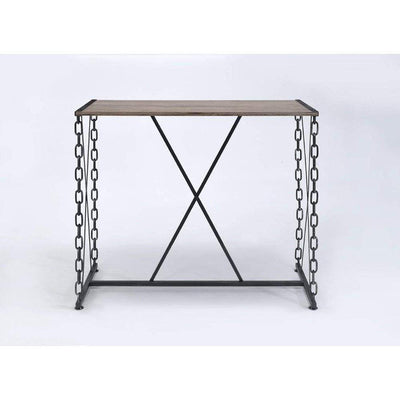 Industrial Style Rectangular Wood and Metal Bar Table, Black and Brown - ACME