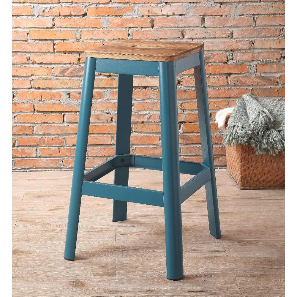 Industrial Style Metal Frame and Wooden Bar Stool, Brown and Blue - ACME