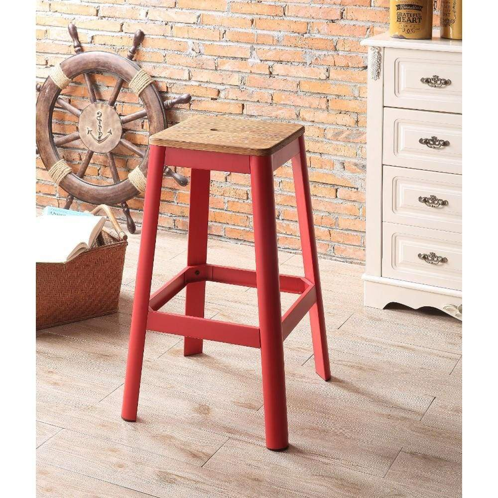 Industrial Style Metal Frame and Wooden Bar Stool, Brown and Red - ACME