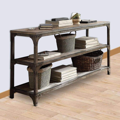 Gorden Console Table With 2  Shelves, Weathered Oak & Antique Silver