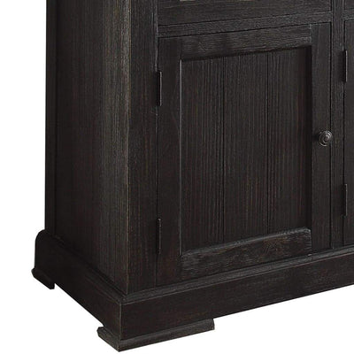Commodious Wooden Server White Marble Top & Weathered Black-ACME AMF-72847