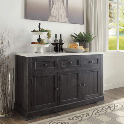 Commodious Wooden Server, White Marble Top & Weathered Black-Casagear Home