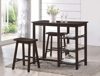 Spacious Counter Height Set, Walnut Brown, 3 Piece Pack By ACME