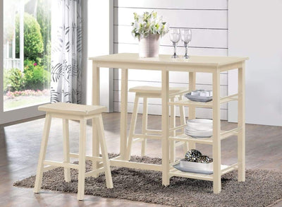 Spacious Counter Height Set, White, 3 Piece Pack By ACME