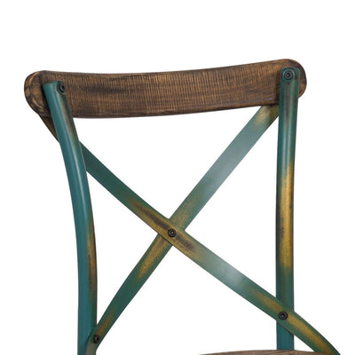 Industrial Style Wooden and Metal Frame Side Chair Brown and Turquoise - ACME AMF-73072