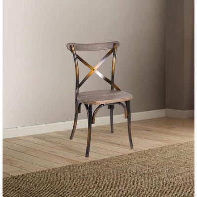 Industrial Style Wood and Metal Armless Side Chair, Brown and Copper - ACME