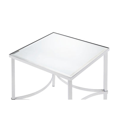 Square Metal Frame End Table with Mirrored Top, Silver - ACME