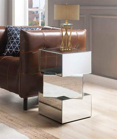 Mirror and Glass End Table with Unique Geometrical Base Design, Silver - 80272