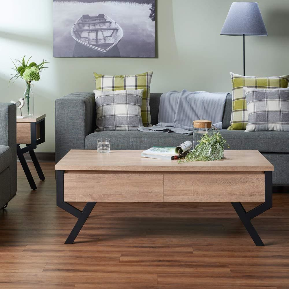 Transitional Rectangular Wooden Coffee Table With 2 Drawers, Brown and Black - ACME