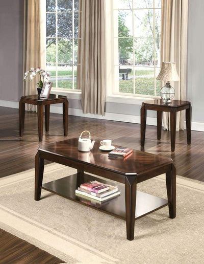 Docila 3Pc Pack Coffee/End Table Set, Walnut