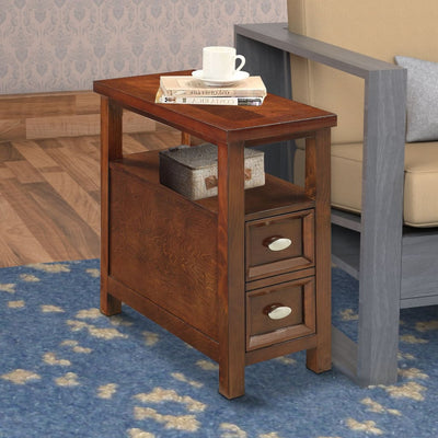 2 Drawer Grained Wooden Frame Side Table, Cherry Brown By Casagear Home