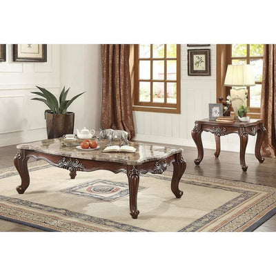 Traditional Style Marble and Wood Rectangular Coffee Table Brown AMF-81050