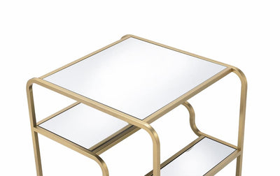 23 Inch 2 Tier Metal Frame Mirrored End Table Gold and Silver - 81092 AMF-81092