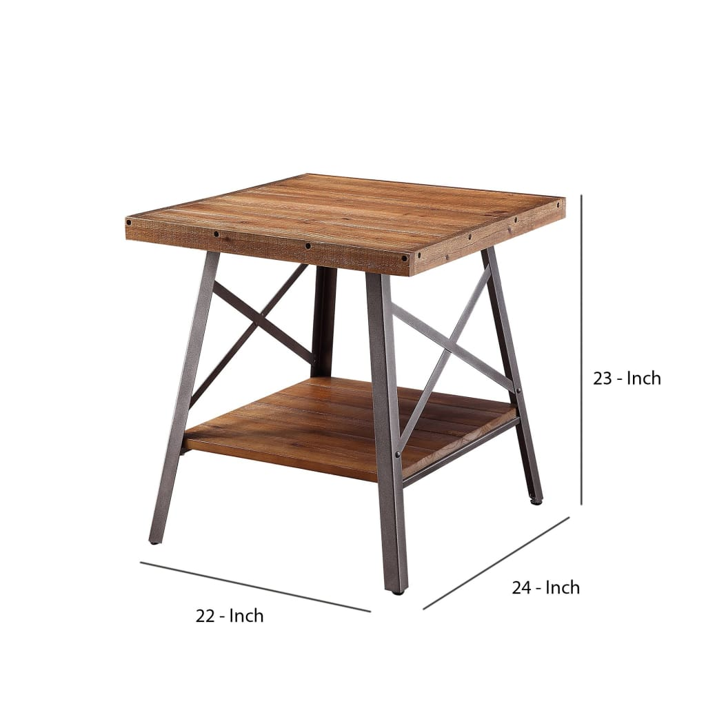 Industrial Metal and Wood End Table with Bottom Shelf, Set of Two, Brown and Black