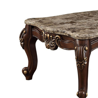 Rectangular Wood and Marble Coffee Table, Brown - ACME