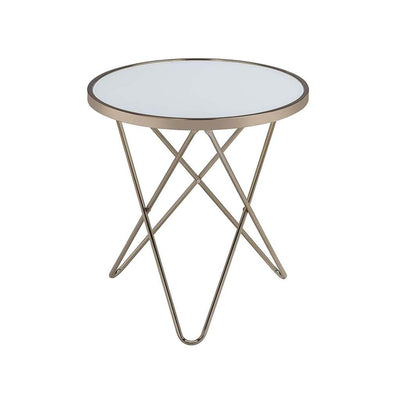 Valora End Table Frosted Glass & Champagne AMF-81827