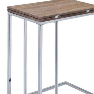 Vogue Side Table Weathered Oak & Chrome By ACME AMF-81849