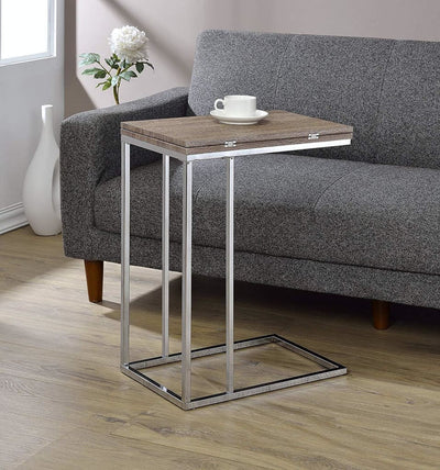 Vogue Side Table with Swivel Extension Top Weathered Oak & Chrome By ACME