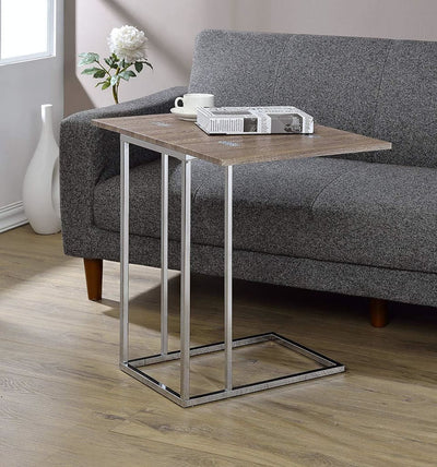 Vogue Side Table with Swivel Extension Top Weathered Oak & Chrome By ACME AMF-81849