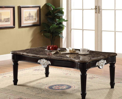 Traditional Style Rectangular Marble and Wood Coffee Table, Brown - ACME