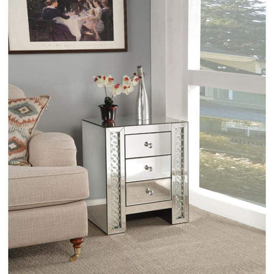 3 Drawer Mirrored Nightstand with Faux Crystals Inlay, Silver