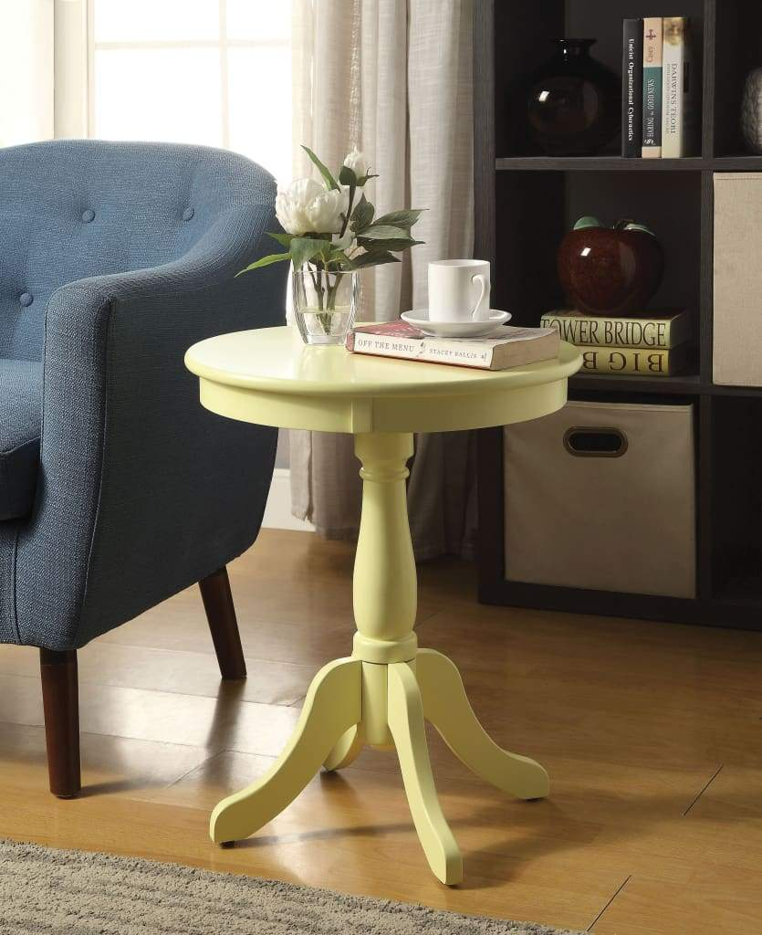 Traditional Style Wooden Round Side Table with Turned Pedestal Base, Yellow - ACME