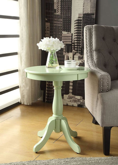 Alger Side Table With Round Top, Light Green