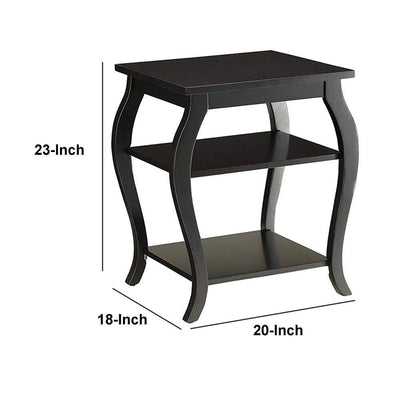 Wooden End Table with 2 Open Shelves and Cabriole Legs Black AMF-82826